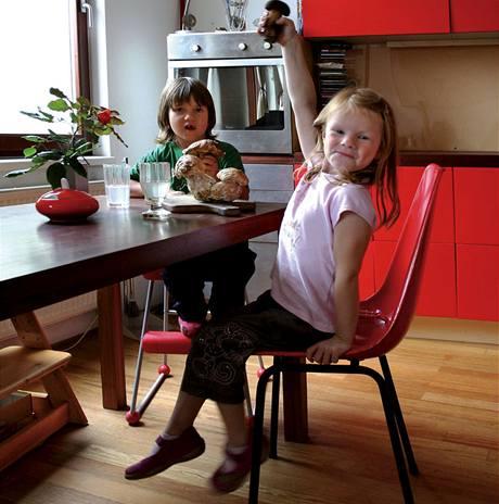 Podlaha v kuchyni je z brazilské dřeviny anani, plastové židle ze 60. let, hříbky z výletu do jižních Čech