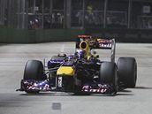Sebastian Vettel při třetím tréninku na Velkou cenu Singapuru
