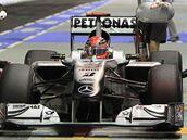 Michael Schumacher při třetím tréninku na Velkou cenu Singapuru