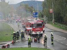 Podzemí karlovarské KV Arény zachvátil požár (27.9.2010)
