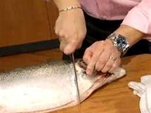 Rybu prořízněte za žeberní ploutví