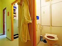 čelní stěna koupelny a WC byla vyzděná, za ní už však pokračovalo umakartové jádro