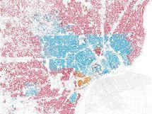 Rasová mapa Detroitu.