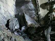 Cholupický tunel - Vypadávání skalních bloků z čelby tunelu