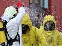 Cvičení hasičů u KV Areny