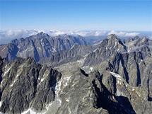 Na Gerlachovském štítu. Výhledové panorama směrem k západu