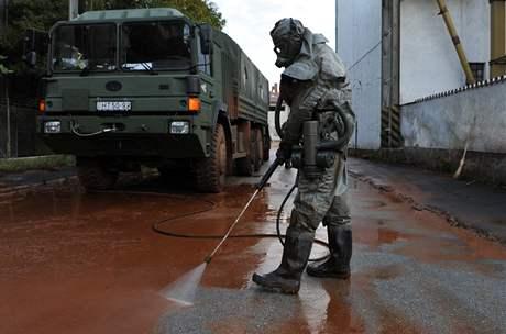 Maďarský voják čistí ulice Devecséru od toxického kalu (5. října 2010)