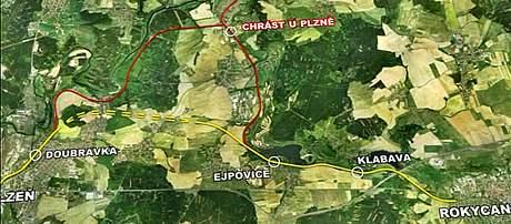 Mapa železničního koridoru mezi Plzní a Rokycany