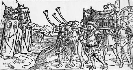 Obraz z 15. století, na němž je znázorněno biblické vysvětlení zničení Jericha