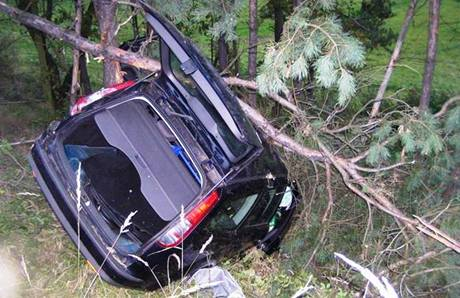 Řidič auta značky Ford Mondeo havaroval na 68. kilometru dálnice D1 ve směru na Prahu a skončil v lese mimo komunikaci