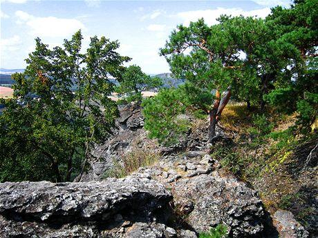 Výhled zokraje vrcholové plošiny na stolové hoře Kozelka