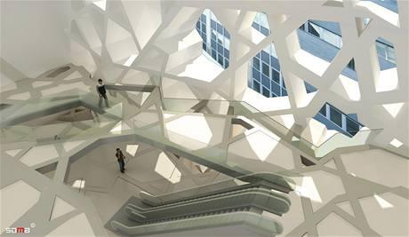 Architektonický návrh komunitního centra a mešity na Manhattanu.