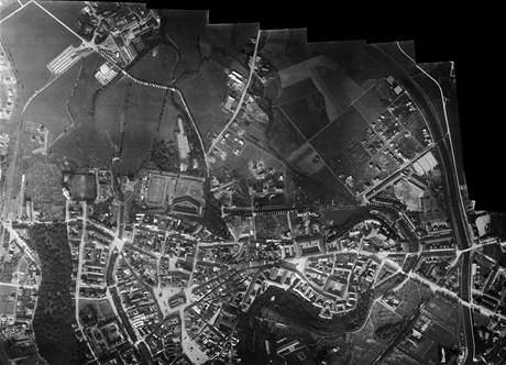 Složenina snímků centra města a částí Lazce a Střelnice.