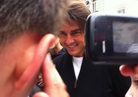 Herec Tom Cruise v centru Prahy (říjen 2010)