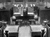 Interiér hotelu Ungar, dnešní Slavie, za druhé světové války