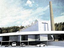 Areál Modety: V bezprostředním sousedství budovy je navrženo parkoviště. A komín má být nadále dominantou objektu.