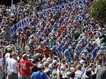 Trať závodu mistrovství světa cyklistů byla v australském Geelongu obsypaná fanoušky.