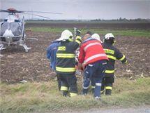 Při nehodě u Náměště na Hané se těžce zranil motocyklista.