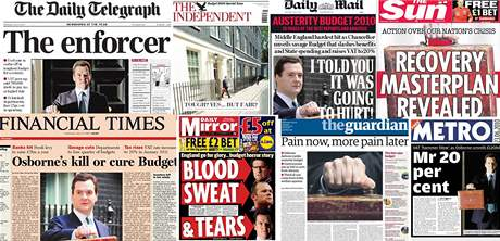 Britský ministr financí George Osborne a jeho obraz v britském tisku  během léta 2010