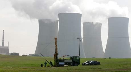 Průzkumné vrty u jaderné elektrárny Dukovany.