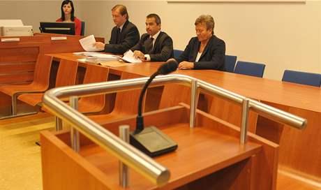 Dagmar Hrubá se svým právním zástupcem před začátkem soudního líčení u Městského soudu v Brně.
