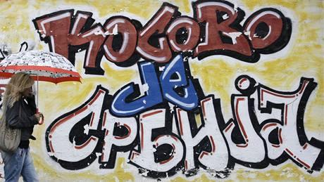 Kosovo je Srbsko - nacionalistické graffiti v Bělehradě