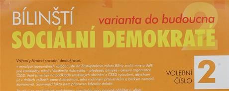 Plakát Bílinských sociálních demokratů i barvou působí jako materiál ČSSD.