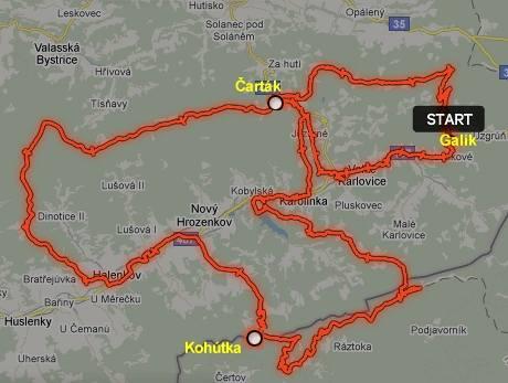 Trasa našeho putování Valašskem