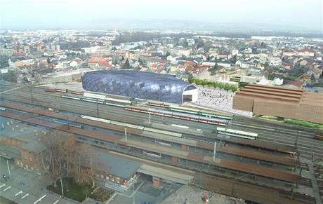 Vizualizace hlavní haly železničního muzea, které má vzniknout v Olomouci vedle současného nádraží.