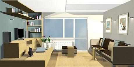 Obývací pokoj, který je zároveň ložnicí i pracovnou