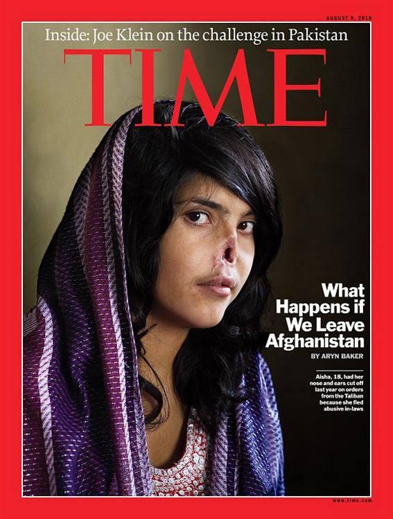 Afghánská dívka Aisha, které uřízl nos a uši její manžel, na obálce časopisu Time