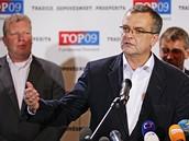 Miroslav Kalousek ve volebním štábu TOP09 (16.října 2010)