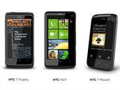 HTC Windows Phone 7 zařízení pohromadě