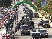 Íránský prezident Mahmúd Ahmadínežád během návštěvy Libanonu (13. října 2010)