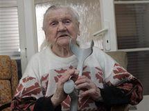 V Kroměříži vložila do urny svůj hlas i zřejmě nejstarší žena republiky, 107letá Marie Stejskalová.