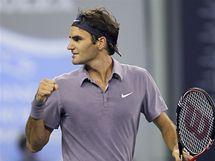 A TEĎ FINÁLE. Roger Federer se v Šanghaji z postupu do finále.