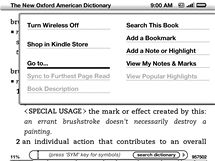 Screenshot displeje: slovník a menu