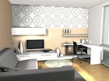 Varianty tapet v obývacím pokoji, vzor So-leil