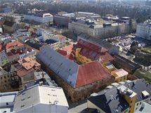 Letecký snímek areálu bývalého měšťanského pivovaru.