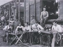 Výstrojní vagon vlaku československých legionářů.