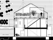 Průřez sušičky obilí přestavěné na rodinný dům