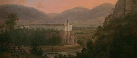Obraz Děčínského zámku od Carla Graffa z let 1774- 1832.