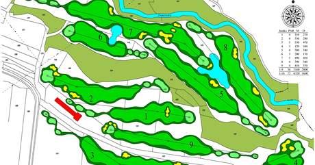 Mapa golfového hřiště v Bitozevsi.