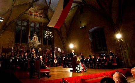 Prezident Václav Klaus zahájil ceremoniál tradičním projevem.