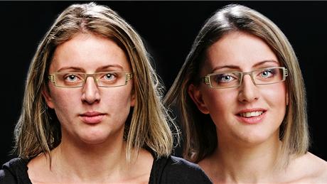 Make-up proměna - líčení pod brýle, před (vlevo) a po (vpravo)