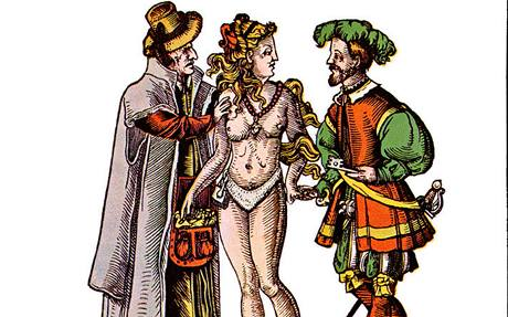 Karikatury ze 16. stolet� si �asto tropily �erty ze star�ch man�el�, jim� nezajistil v�rnost jejich man�elek ani p�s cudnosti