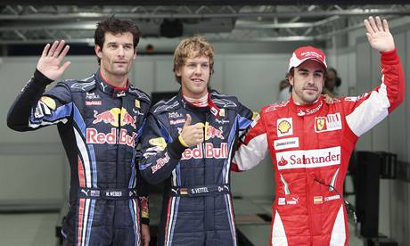 Nejlepší v kvalifikaci na Velkou cenu Koreje: Mark Webber, Sebastian Vettel, Fernando Alonso.