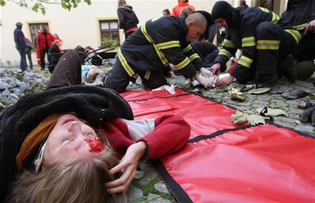 Ukázka záchranných prací v oblasti zasažené zemětřesením. Organizátoři přeměnili nádvoří olomoucké Arcidiecézní charity na místo katastrofy.