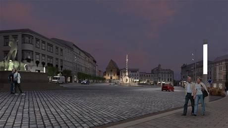 Pohled na novou podobu olomouckého Dolního náměstí v noci.
