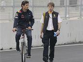 Mark Webber s kolegou na prohlídce nového okruhu Yeongam v Koreji.